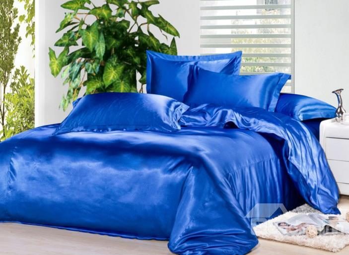 Very Soft Solid Blue 4-Piece Duvet Cover Sets