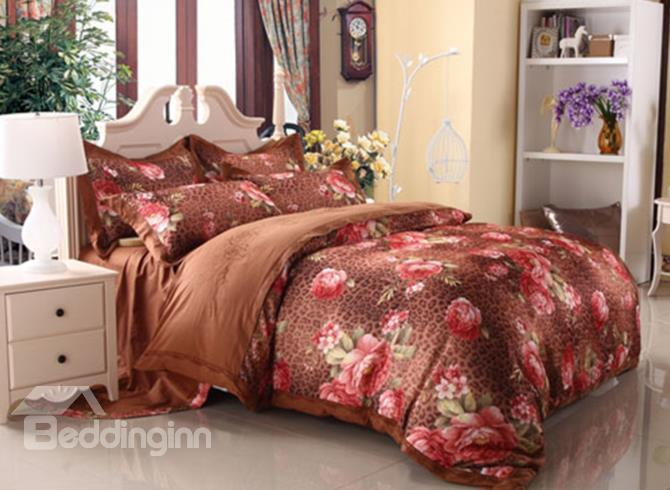 Classical Pink Flower And Leopard 100%Cotton 4-Piece Duvet Cover Sets