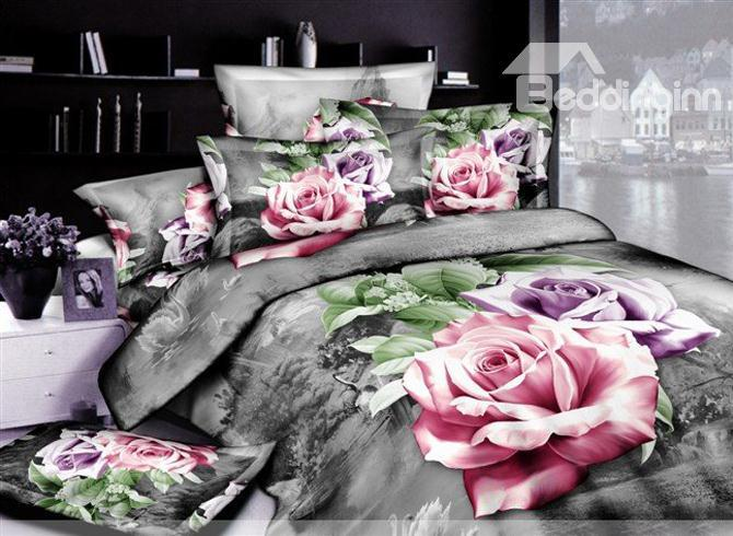 Ornate Sliver Gray 4 Piece Cotton Bedding Sets With Active Printing 10489927)