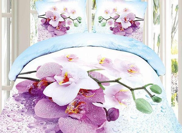 Elegant Lilic Flower And Dew Print 4-Piece Cotton Duvet Cover Sets