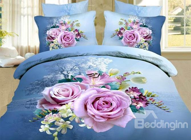 Big Pink/Purple Roses Print 4 Piece Blue Bedding Sets/Duvet Cover Sets