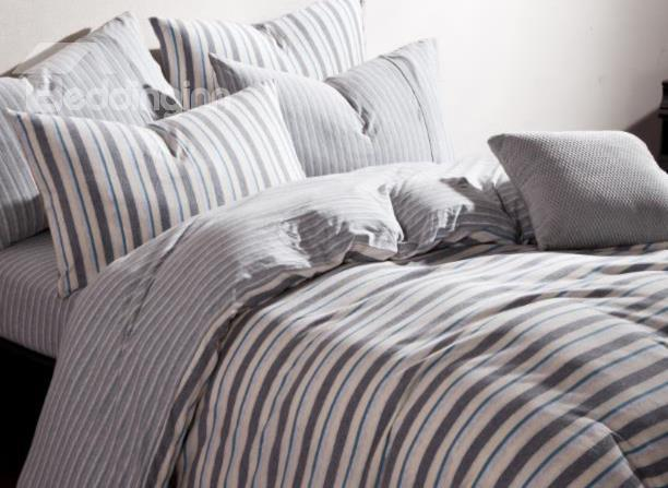 New Arrival Elegant Gray Stripes Print Kintting Cotton Bedding Sets With Fitted Sheet