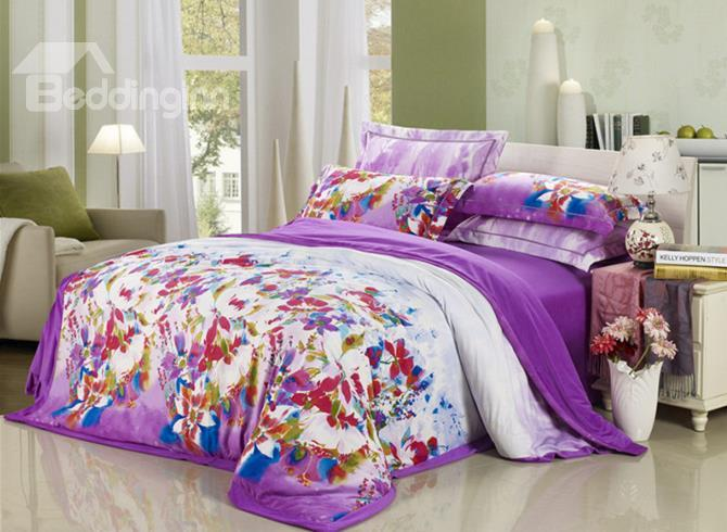 Vintage Colorful Flowers Print Purple Comfortable Sandedcloth Material 4 Piece Bedding Sets
