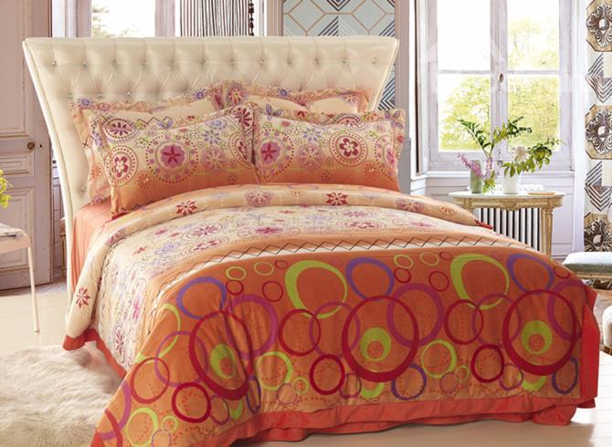 Warm Tone With Fashion Pattern Print Sandedcloth Material 4 Piece Bedding Sets