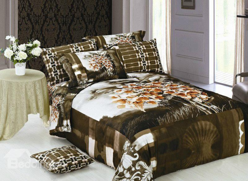 Classical High Quality Fancy Flower Print 4-Piece Cotton Duvet Cover Sets