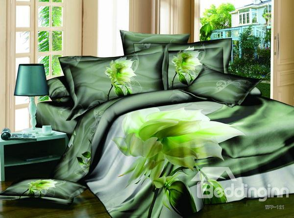 Hot Sell Dreamlike Fresh Summer Series With Budding Flowers 4 Pieces Bedding Sets