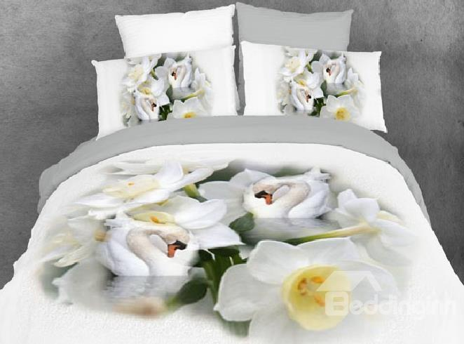 New Arrival Swan And Floral Print 4-Piece Cotton Bedding Sets