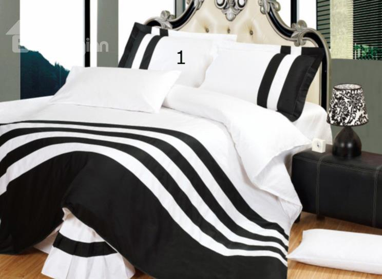 Two-Tone Multicolor 4-Piece Cotton Duvet Cover Sets