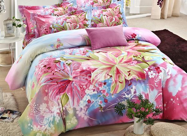 Wonderful Fragrant Lily Flower Print 4-Piece Cotton Duvet Cover Sets