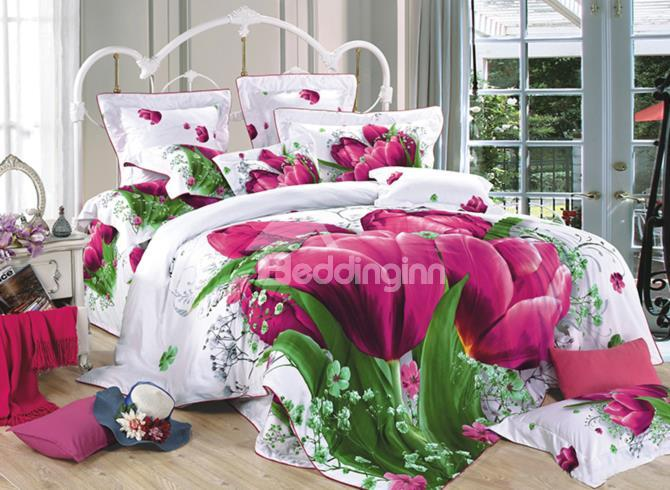 New Swaying Fuchsia Tulip Print 3d Duvet Cover Sets