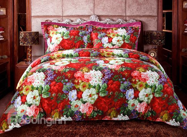 Colorful Flower Oil Painting 4-Piece 100%Cotton Duvet Cover Sets