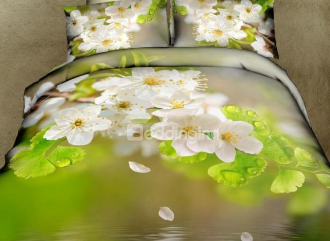 Lovely White Flowers Over Water 4 Piece Duvet Cover Sets