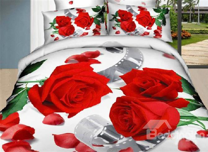 New Arrival 100%Cotton Red Roses With Green Leaves Reactive Print 4 Piece Bedding Sets Duvet Cover Sets