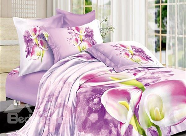 Fancy Calla Lily Print 4-Piece Cotton Duvet Cover Sets