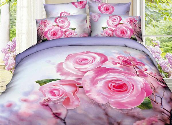 Attractive Pink Flower Print 4-Piece Cotton Duvet Cover Sets