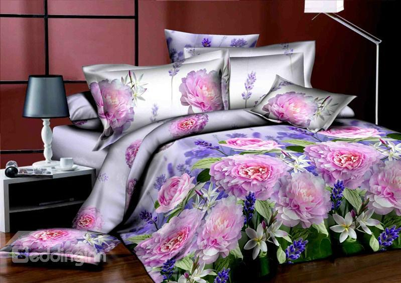 Romantic Pink Flower Print 4 Piece Polyester 3d Bedding Sets