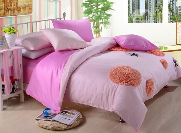 New Arrival Lovely Pink Color Flower Applique Design 6 Piece Bedding Sets With Fitted Sheet