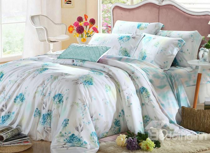 Comfortable Fresh And Elegant Floral Patterns 4 Pieces Tencel Bedding Sets