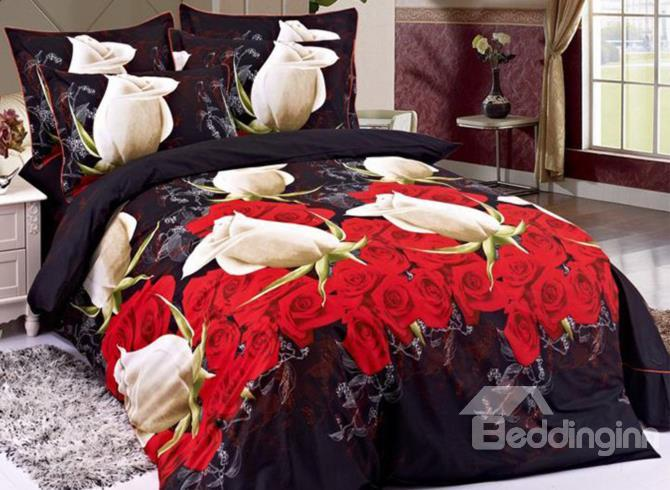 Beautiful Rose Bud And Blooming Rose Print 4 Piece Cotton 3d Duvet Cover Sets