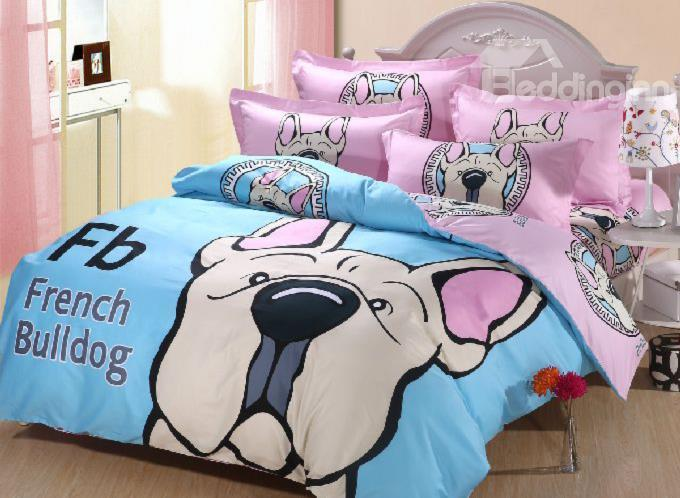 Luminous French Bulldog Print Cotton 4-Piece Duvet Cover Sets