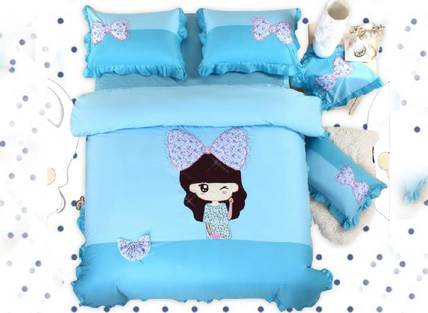 Blue Beautiful Girl With Varabow 4-Piece Cotton Duvet Cover Sets
