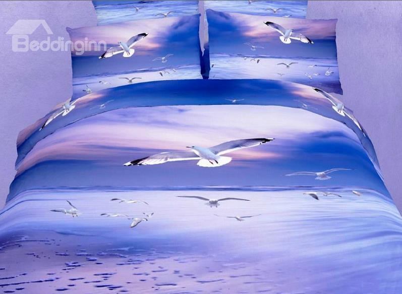 New Arrival Flying Gull 4-Piece Cotton Duvet Cover Sets