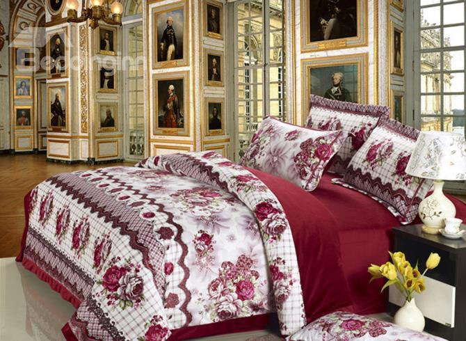 Elegant Style With Peony Flower Print Comfortable Sandedcloth Material 4 Piece Bedding Sets
