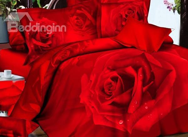 Amazing Red Rose Big Flower Print 4 Piece Bedding Sets/Duvet Cover Sets