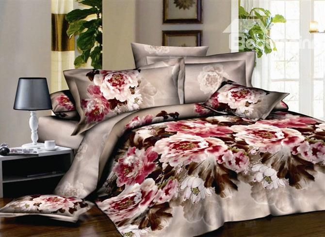 Artistic 4 Piece Cotton Bedding Sets With Chinese Ink And Wash Printed 10489417)