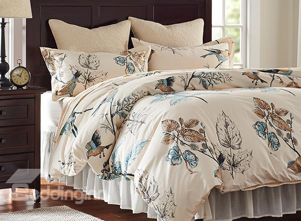 Rural Flower And Birds Print 4-Piece Cotton Duvet Cover Sets
