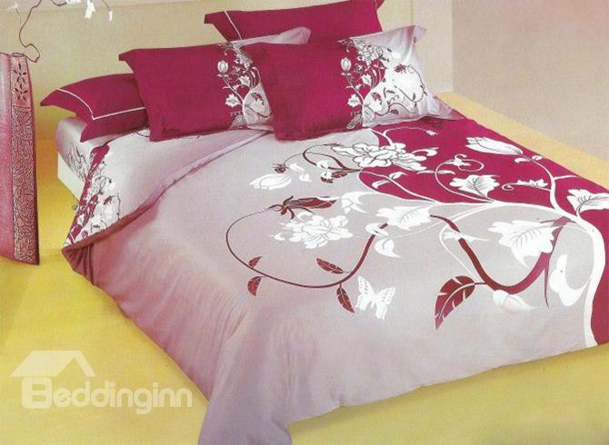 A Branch Of Flower Print 4-Piece Cotton Duvet Cover Sets