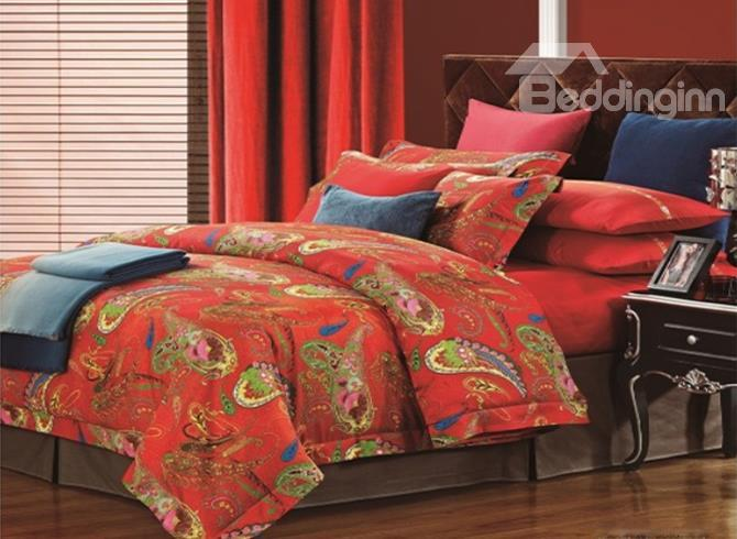 Boutique Personality Pattern Red Staple Cotton 4 Piece Bedding Sets
