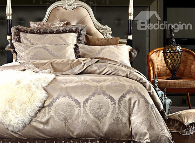 Sandy Beige Floral Pattern Hook Lace Edging 4-Piece Stain Duvet Cover Sets