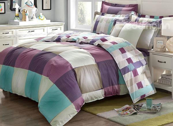 Modern Checked Print 4-Piece Cotton Duvet Cover