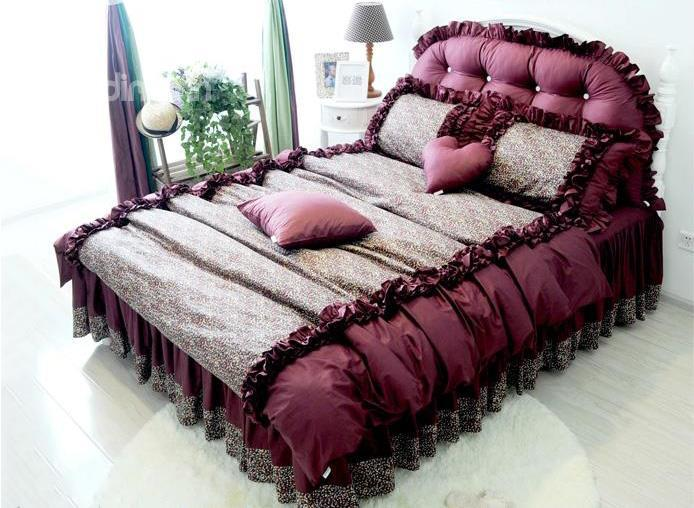 Top Quality Fantastic Romantic Purple Cotton 4-Piece Bedding Sets