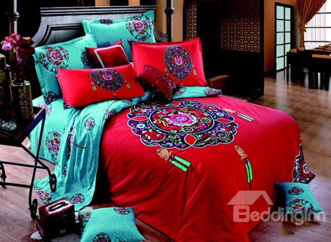 Very Beautiful Ancient China Embroidery Embodies Print 4-Piece Cotton Duvet Cover Sets