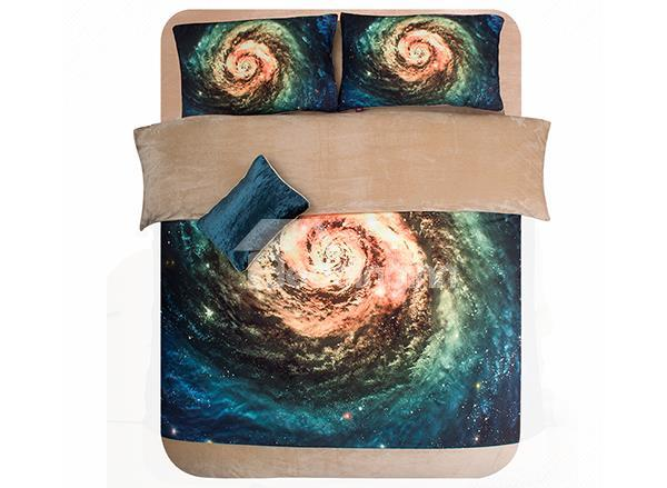Stunning Galaxy Print 4-Piece Coral Fleece Duvet Cover Sets