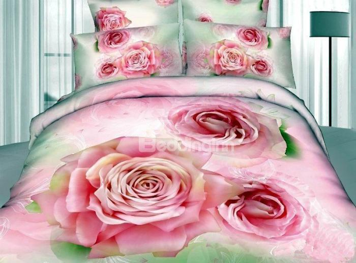New Arrival Blooming Gorgeous Pink Rose Realistic 3d Printed 4 Piece Bedding Sets