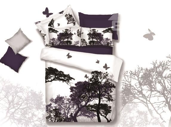 New Arrival 100%Cotton Elegant Purple Tree And Butterfly Print 4 Piece Bedding Sets