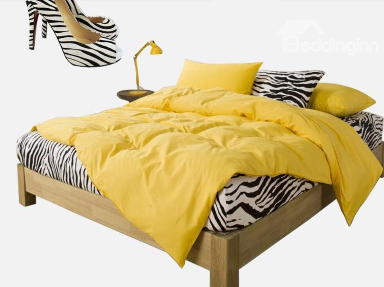 New Arrival 100%Cotton Korean Style Zebra Yellow 4 Piece Bedding Sets/Duvet Cover Sets