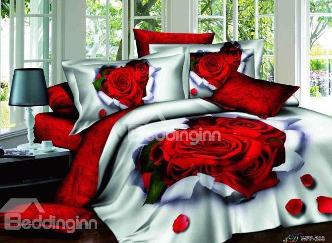 New Arrival Romantic Rose Printed 100%4 Piece Bedding Sets