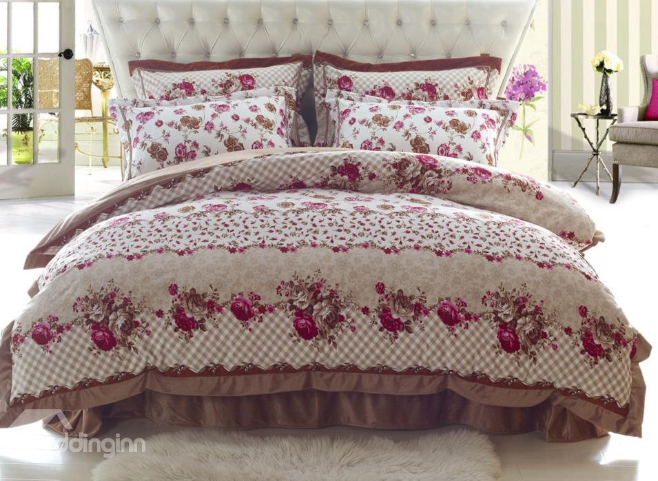 High Quality With Elegant Flower Print Sandedcloth Material 4 Piece Bedding Sets
