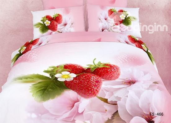 Strawberry And Flower Pattern Duvet Cover 4 Piece Bedding Sets