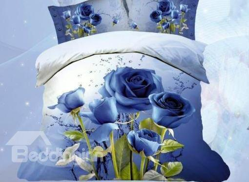 New Arrival Romantic Blue Roses Print 4 Piece Bedding Sets