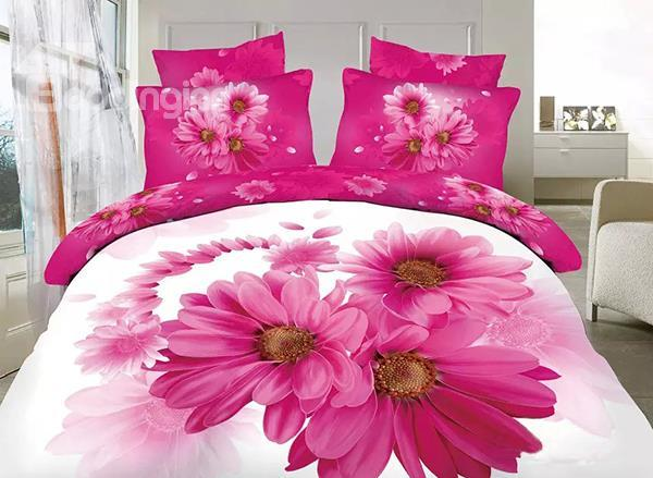 Pretty Pink Daisy Print 4-Piece 100%Cotton Duvet Cover Sets