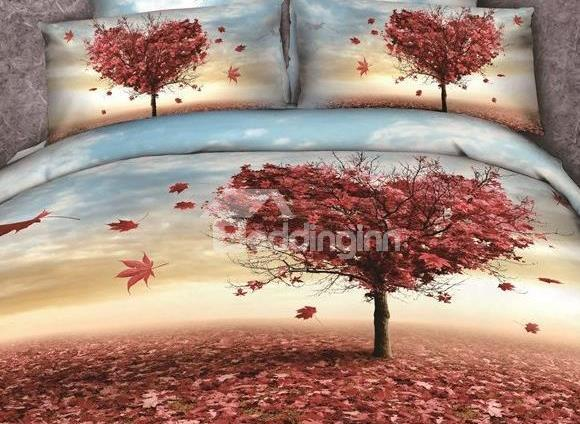 New Arrival Cotton Skincare Maple Leaves Love Tree Print 4 Piece Bedding Sets/Duvet Cover Sets