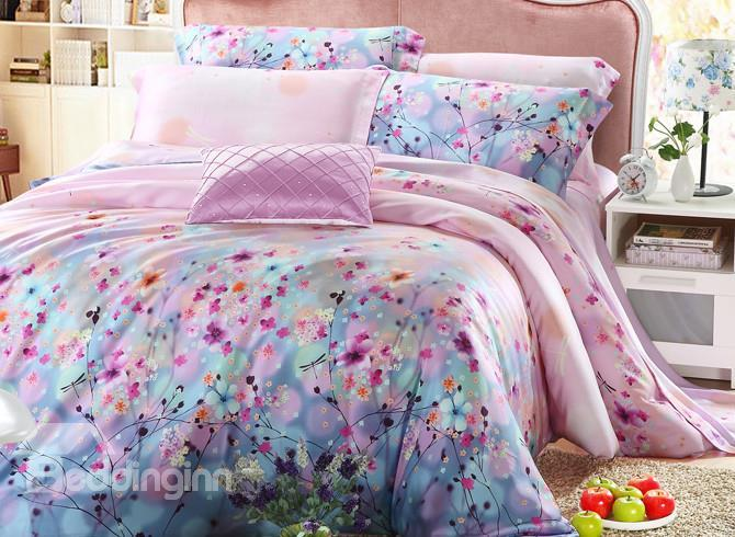 High Quality Comfortable Pastoral Floral 4 Pieces Tencel Bedding Sets