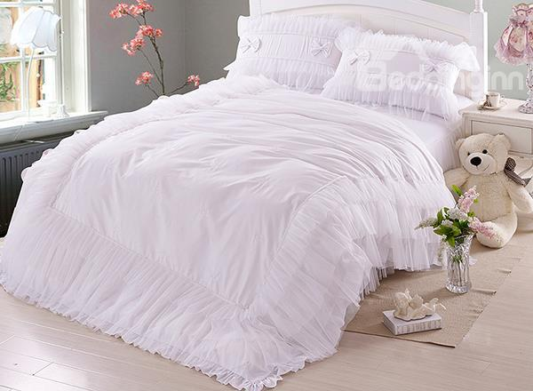 High Quality Pure White 100%Cotton 4-Piece Lace Duvet Cover Sets