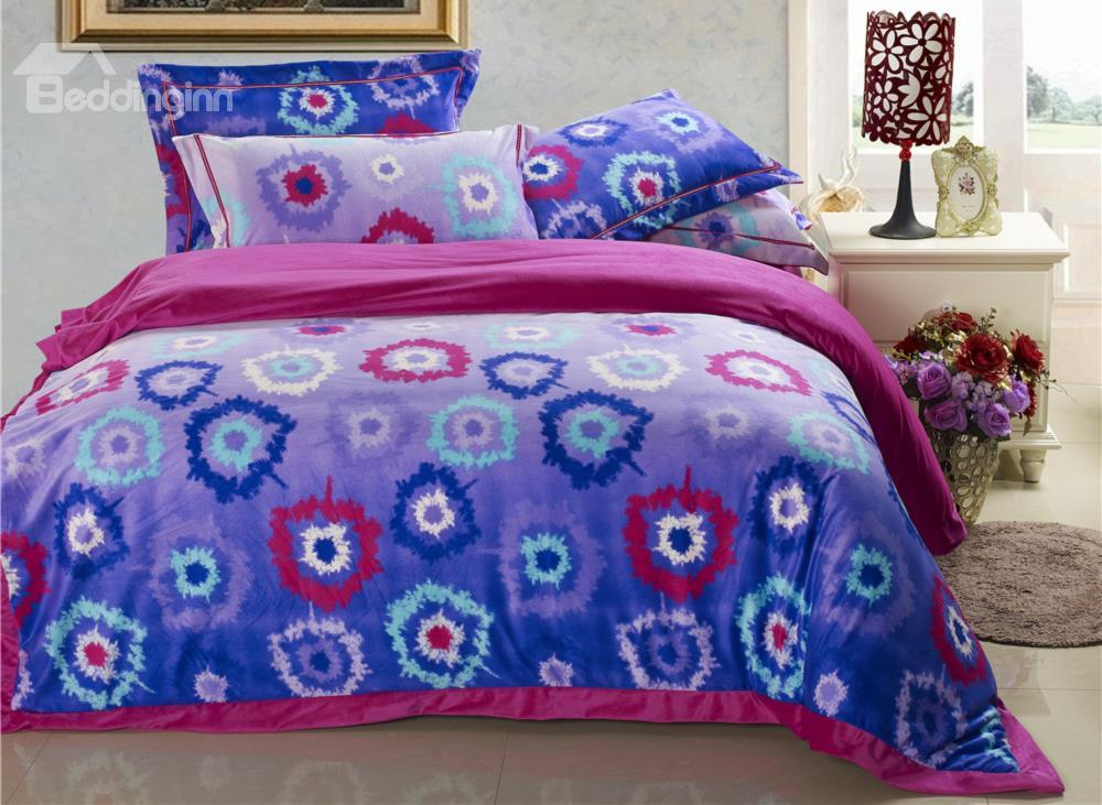 Colorful Concentric Ring Print Sandedcloth Material 4 Piece Bedding Sets