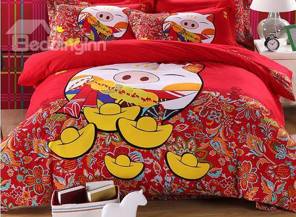 Lucky Fat Pig Print 4-Piece 100%Cotton Duvet Cover Sets